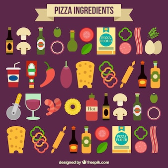 Ingredients of pizza on a purple background