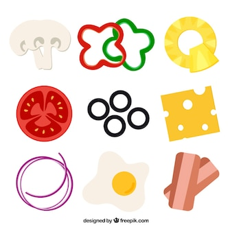 Ingredients for pizza on a white background
