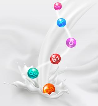 牛乳中のビタミン、ビタミン、カルシウム、鉄、亜鉛。