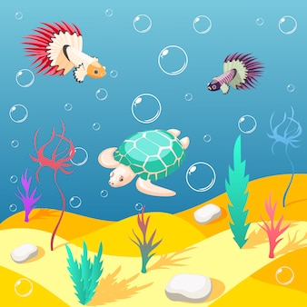 Inhabitants of underwater world background