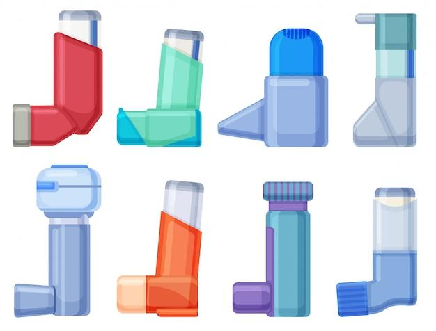 吸入器の漫画は、アイコンを設定します。白い背景のイラストイラスト装置。漫画セットアイコン吸入器。