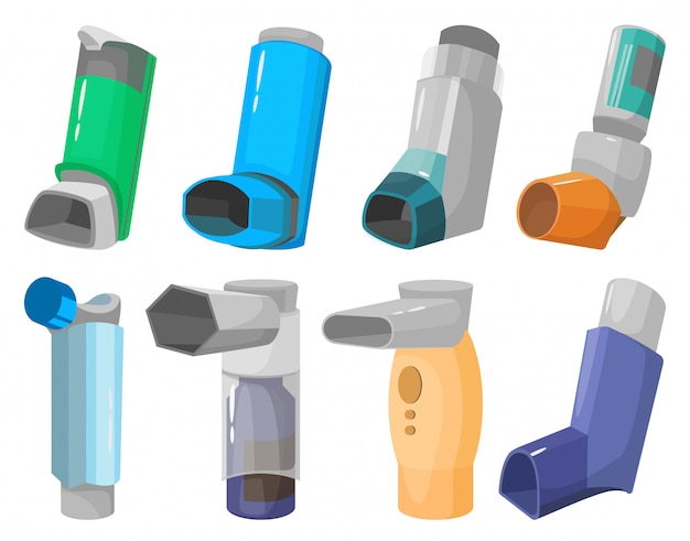 吸入器の漫画は、アイコンを設定します。白い背景の上のスプレーのイラスト吸入器。
