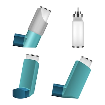 Inhaler icon set, realistic style