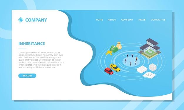 アイソメトリックスタイルのウェブサイトテンプレートまたはランディングホームページの継承コンセプト