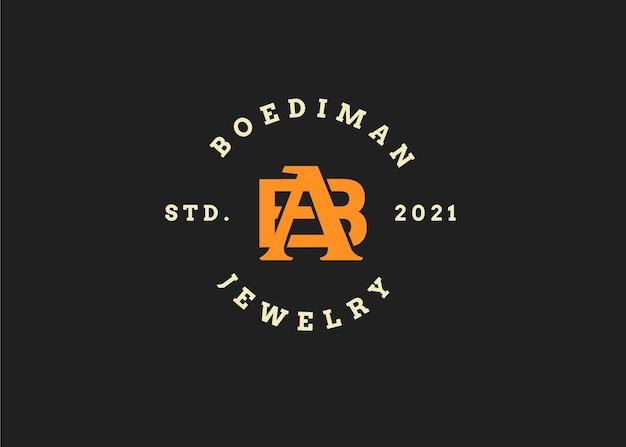 Шаблон дизайна логотипа буквица b, винтажный стиль, векторные иллюстрации