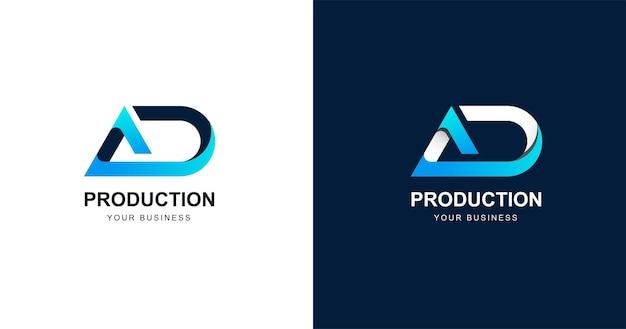 頭文字d文字のロゴデザインテンプレート