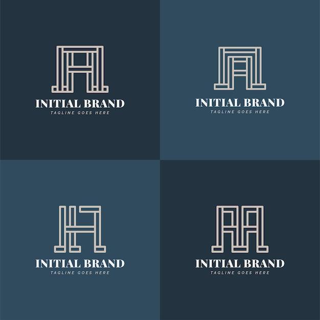다른 스타일의 추상 라인 개념을 가진 초기 a 문자 로고 디자인