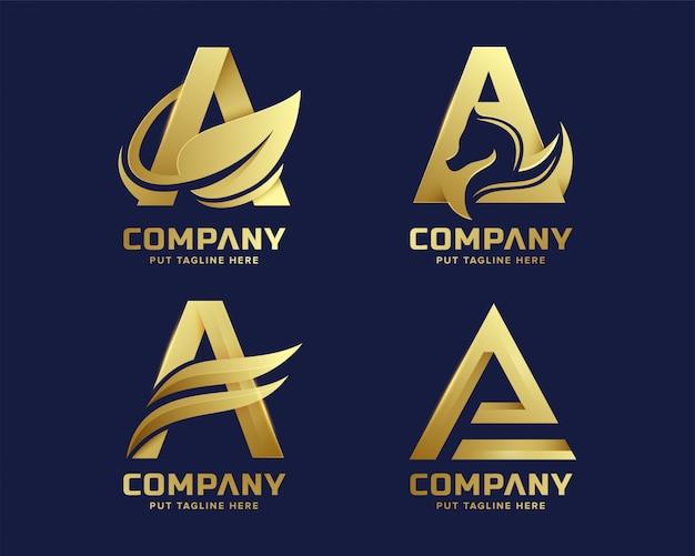 Премиум люкс буква initial a логотип шаблон для компании