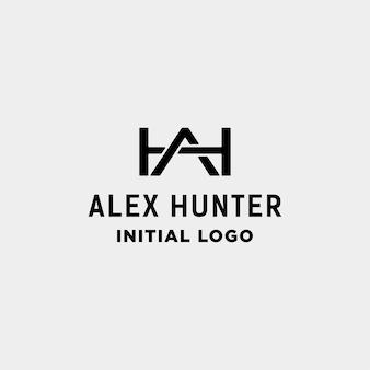 初期のahロゴデザインモノグラムアイデンティティベクトルアイコンイラスト