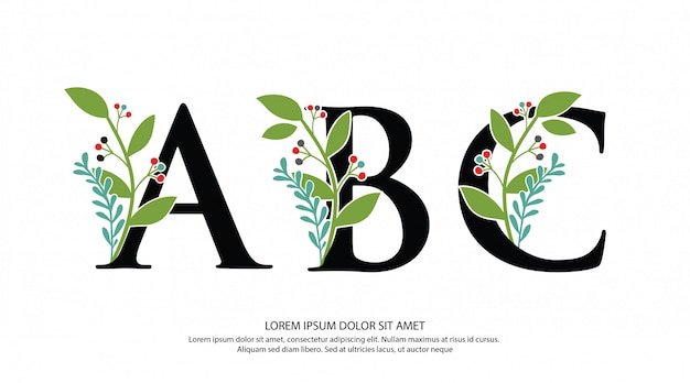 Initial a b c letter logo with flower shape