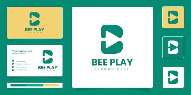 Initial b letter play logo b letter monogram business identity vector design template