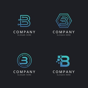 Initial b logo with technology elements in blue color