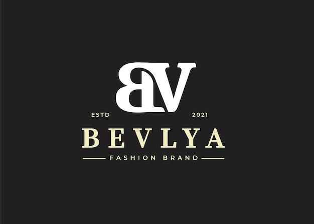 초기 bv 편지 로고 디자인 서식 파일, 벡터 일러스트