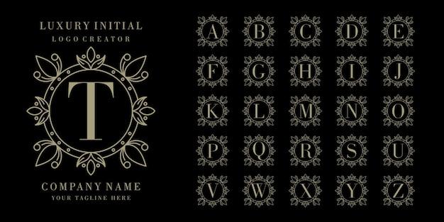 Initial bedge floral frame logo design