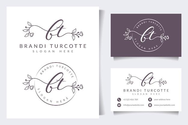 Первоначальные коллекции логотипов bt с шаблоном визитки
