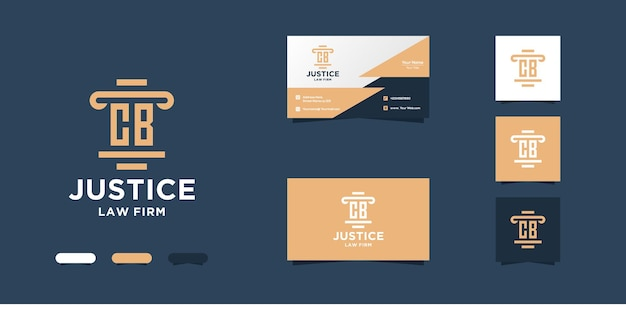 Initial c b law firm logo design and business card