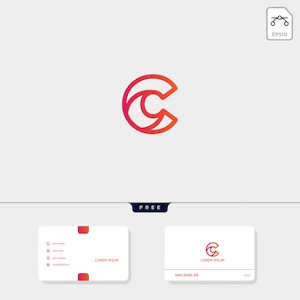 Initial c, cc outline creative logo template and business card template include