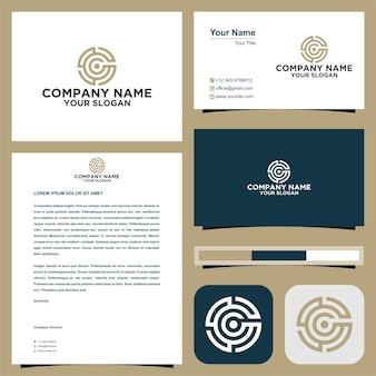 Буквица c в круге логотип с визитной карточкой