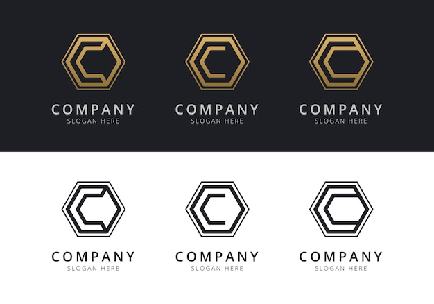 Initial c logo inside hexagon shape in gold and black color