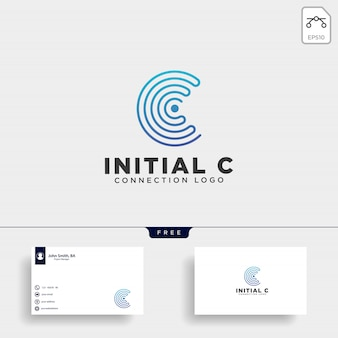 Initial c wifi logo template vector illustration