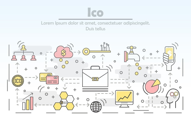 Initial coin offering concept vector flat line art illustration