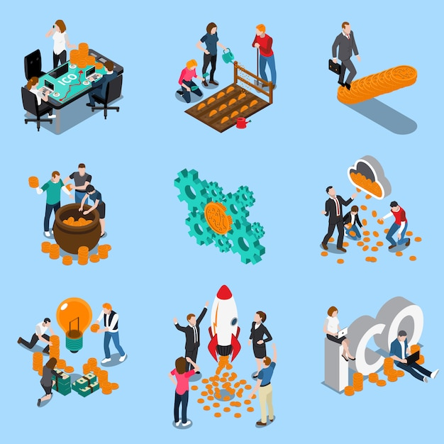 Initial coin offering isometric icons