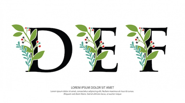 Initial d e f letter logo with flower shape