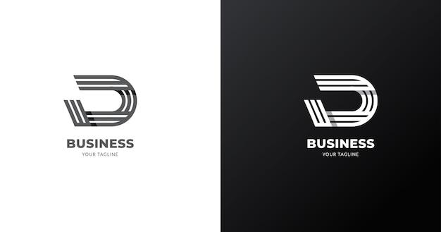 頭文字d文字ロゴデザインテンプレート、ラインコンセプト