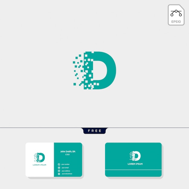 Initial d logo template, business card design template include