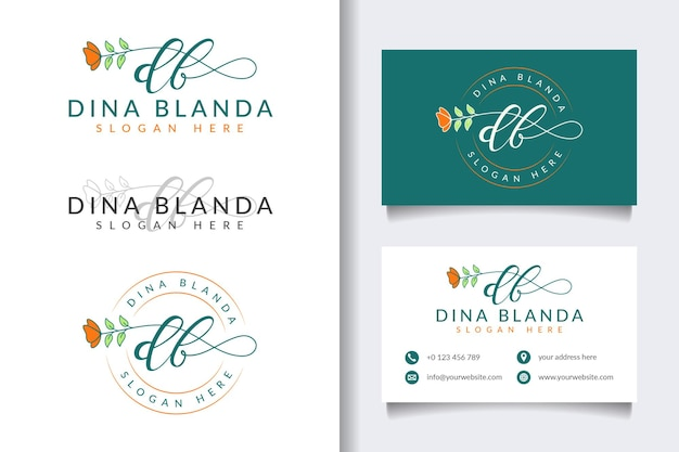 Initial db feminine logo collections with business card template