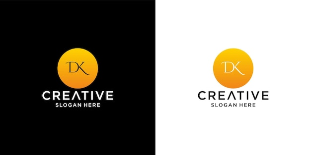 Initial dk logo with business card template