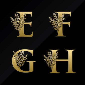 Initial e f g h letter logo with simple flower in gold color
