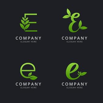 Начальный логотип e с элементами листа зеленого цвета