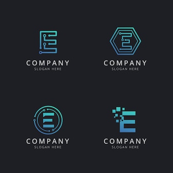 Initial e logo with technology elements in blue color