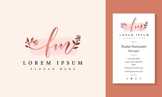 Initial fm feminine logo collections template.