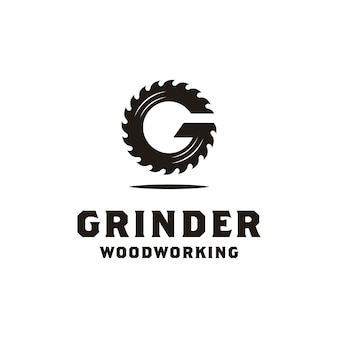 Initial g grinder for woodworking or carpentry logo design