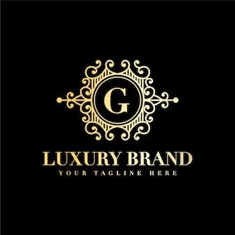 이니셜 G 문자 럭셔리 빈티지 아름다움 번성 장식 황금 모노그램 로고 프리미엄 벡터