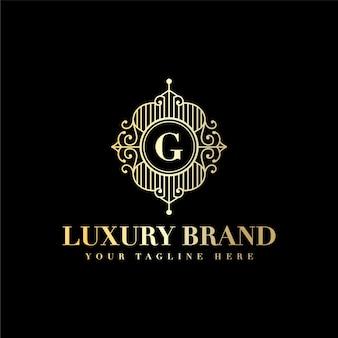 이니셜 g 문자 럭셔리 빈티지 아름다움 번성 장식 황금 모노그램 로고