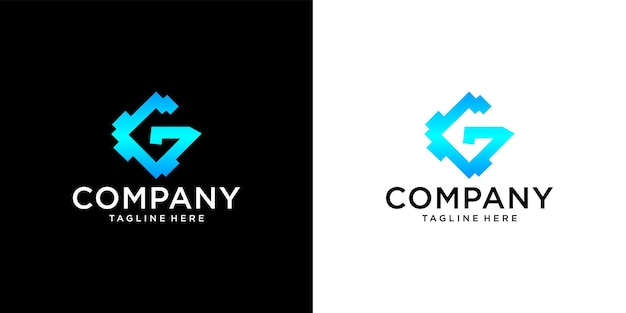 Initial g logo with business card template