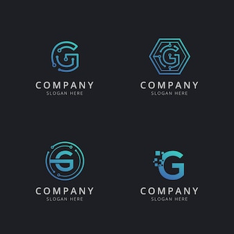 Initial g logo with technology elements in blue color