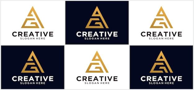 Шаблон логотипа буквица ga с иллюстрацией искусства линии треугольника в плоском дизайне символа монограммы современный логотип буквы ga треугольника геометрической формы