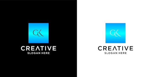 Initial gk logo with business card template