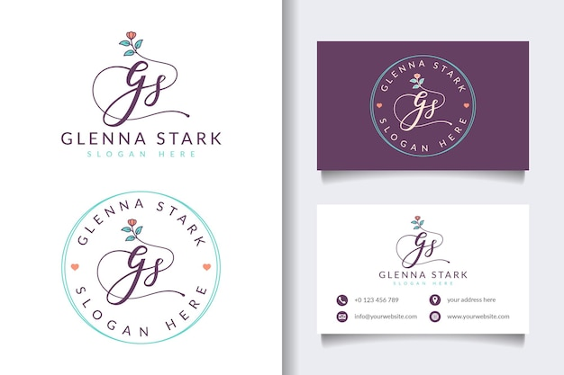 Initial gs feminine logo collections with business card template