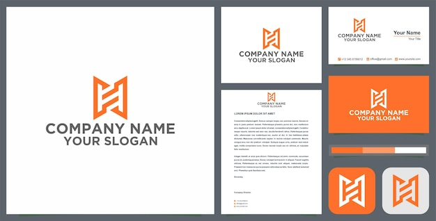 Initial h logo with business card