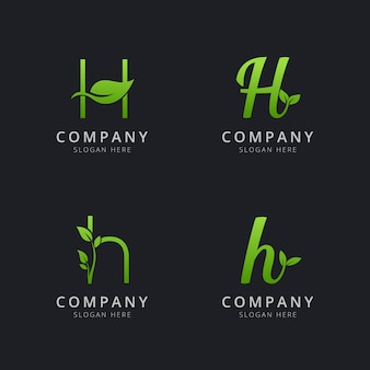 Initial h logo with leaf elements in green color