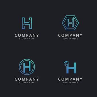 Initial h logo with technology elements in blue color