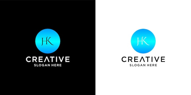 Initial hk logo with business card template