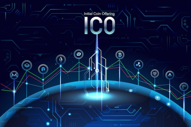 Initial ico coin offering. promotion with coins signs , graph, invest on another coin.
