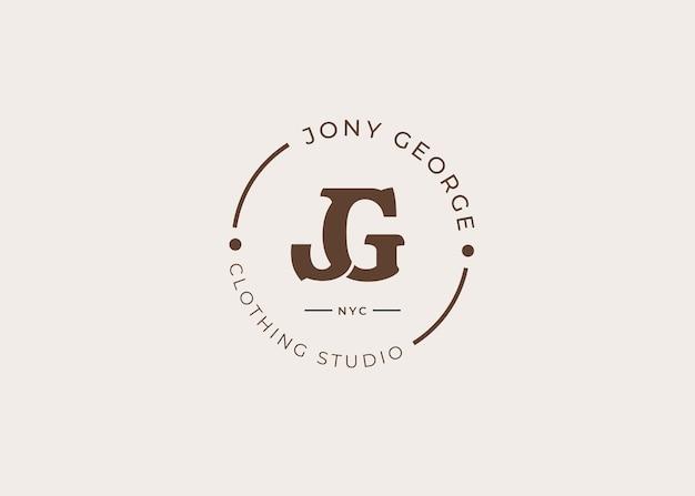 最初のjg文字ロゴデザインテンプレート、ビンテージスタイル、ベクトルイラスト