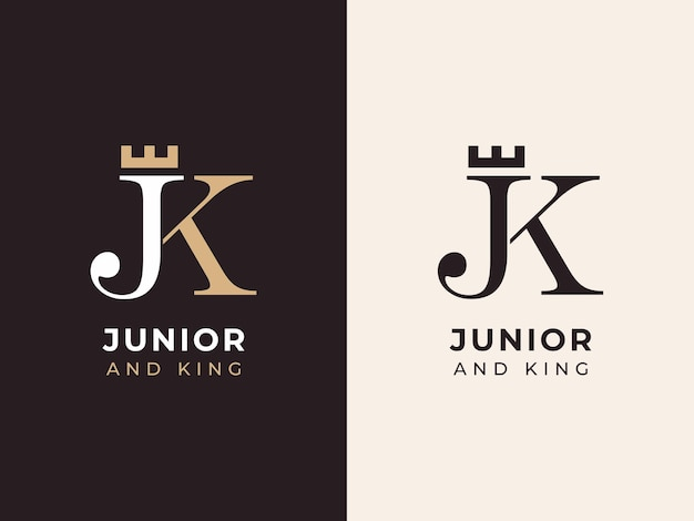 Initial j and k with crown logo design concept